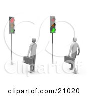 Clipart Illustration Of Two Businessmen Waiting At A Traffic Light One Turned Green One Red