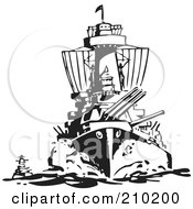 Royalty Free RF Clipart Illustration Of A Retro Black And White Military Ship by BestVector
