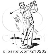 Retro Black And White Male Golfer