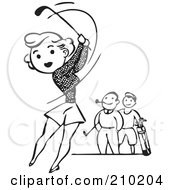 Royalty Free RF Clipart Illustration Of A Retro Black And White Woman Golfing by BestVector