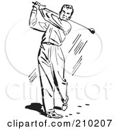 Royalty Free RF Clipart Illustration Of A Retro Black And White Man Golfing by BestVector