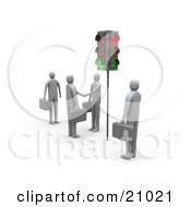 Poster, Art Print Of Businessmen Waiting At Red Stop Lights Watching Two Men Engaged In A Handshake