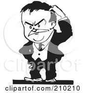 Royalty Free RF Clipart Illustration Of A Retro Black And White Businessman Scratching His Head