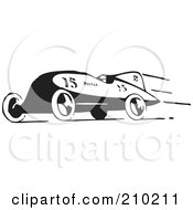 Royalty Free RF Clipart Illustration Of A Retro Black And White Race Car Speeding To The Left by BestVector