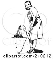 Royalty Free RF Clipart Illustration Of A Retro Black And White Lady Golfing by BestVector