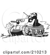 Royalty Free RF Clipart Illustration Of A Retro Black And White Military Tank by BestVector