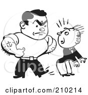Royalty Free RF Clipart Illustration Of A Retro Black And White Bully Man Kicking Another In The Butt
