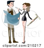 Royalty Free RF Clipart Illustration Of An Architect Couple Drafting