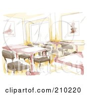 Royalty Free RF Clipart Illustration Of A Watercolor And Sketched Indoor Cafe Scene by BNP Design Studio