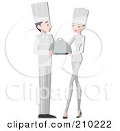 Royalty Free RF Clipart Illustration Of A Chef Couple Serving by BNP Design Studio