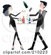 Royalty Free RF Clipart Illustration Of A Bartender Couple Mixing Drinks