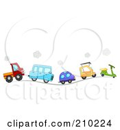 Line Of Cute Cars And Vehicles Driving On A Hilly Road