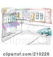 Royalty Free RF Clipart Illustration Of A Watercolor And Sketched City Street And Store Scene