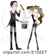 Royalty Free RF Clipart Illustration Of A Magician Couple Performing A Trick