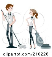 Royalty Free RF Clipart Illustration Of A Housekeeping Couple Cleaning