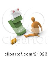 Clipart Illustration Of A Scared Businessman On The Floor Being Stared At By A Monster From A Filing Cabinet