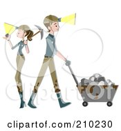 Royalty Free RF Clipart Illustration Of A Miner Couple Mining by BNP Design Studio