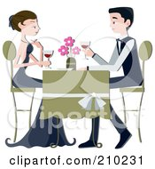 Royalty Free RF Clipart Illustration Of A Formal Couple Drinking Red Wine At A Restaurant