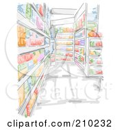 Watercolor And Sketched Grocery Store Aisle Scene
