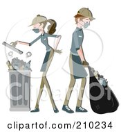 Royalty Free RF Clipart Illustration Of A Waste Collector Couple Gathering Garbage by BNP Design Studio