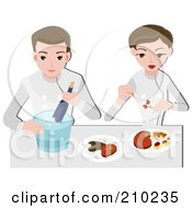 Royalty Free RF Clipart Illustration Of A Food Stylist Couple Arranging Food by BNP Design Studio