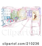 Watercolor And Sketched Urban Sidewalk Cafe Scene