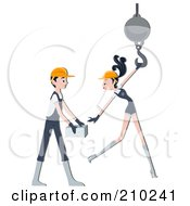 Royalty Free RF Clipart Illustration Of A Construction Worker Couple Working