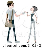 Royalty Free RF Clipart Illustration Of A Mail Man Handing A Letter To A Woman