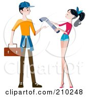 Royalty Free RF Clipart Illustration Of A Woman Handing A Pipe To A Plumber