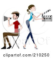 Royalty Free RF Clipart Illustration Of A Director Couple Directing A Movie