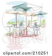 Watercolor And Sketched Outdoor Cafe Scene