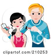 Royalty Free RF Clipart Illustration Of A Male Makeup Artist Working On A Client