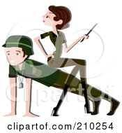 Royalty Free RF Clipart Illustration Of A Woman Sitting On A Mans Back While He Does Push Ups In Military Camp by BNP Design Studio