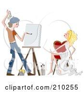 Artist Painting A Portrait Of A Gorgeous Woman