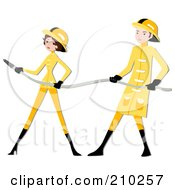 Royalty Free RF Clipart Illustration Of A Fire Fighter Couple Holding A Hose by BNP Design Studio