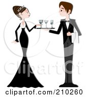 Royalty Free RF Clipart Illustration Of A Waiter Serving Beverages To A Formal Woman At A Party by BNP Design Studio