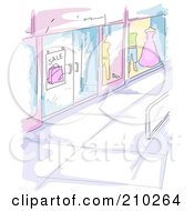 Royalty Free RF Clipart Illustration Of A Watercolor And Sketched Mall Window Display Scene