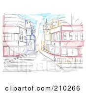Watercolor And Sketched Urban Street Scene