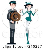 Royalty Free RF Clipart Illustration Of A Pretty Stewardess By A Ship Captain by BNP Design Studio