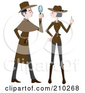 Royalty Free RF Clipart Illustration Of A Detective Couple Working by BNP Design Studio