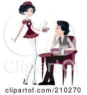 Royalty Free RF Clipart Illustration Of A Barista Serving Coffee To A Customer