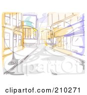 Watercolor And Sketched City Street And Sidewalk Scene