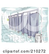 Royalty Free RF Clipart Illustration Of A Watercolor And Sketched Public Restroom Scene by BNP Design Studio