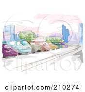 Royalty Free RF Clipart Illustration Of A Watercolor And Sketched Parking Lot Scene