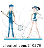 Royalty Free RF Clipart Illustration Of A Pool Maintenance Couple Cleaning by BNP Design Studio