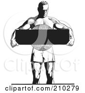 Royalty Free RF Clipart Illustration Of A Retro Black And White Bodybuilder Holding A Blank Sign by BestVector