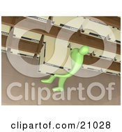 Clipart Illustration Of A Green Person Carrying A Storage Box Past Shelves In An Office by 3poD