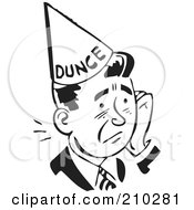 Royalty Free RF Clipart Illustration Of A Retro Black And White Man In A Dunce Hat