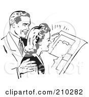 Royalty Free RF Clipart Illustration Of A Retro Black And White Couple Reviewing Blue Prints by BestVector