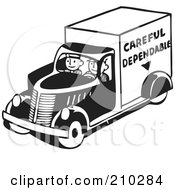 Royalty Free RF Clipart Illustration Of Retro Black And White Men Driving A Careful Dependable Delivery Truck by BestVector